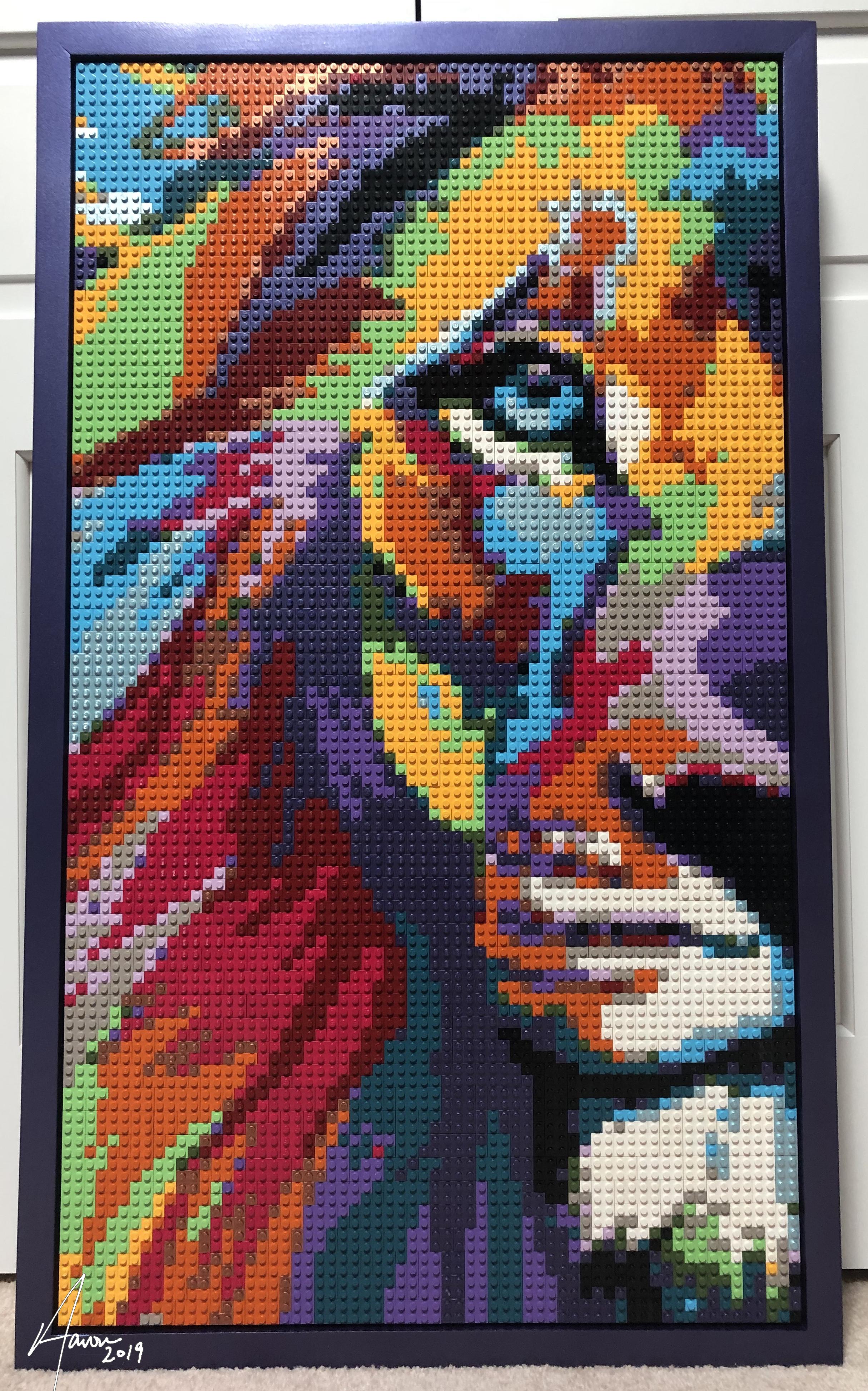 Colorful lion LEGO mosaic