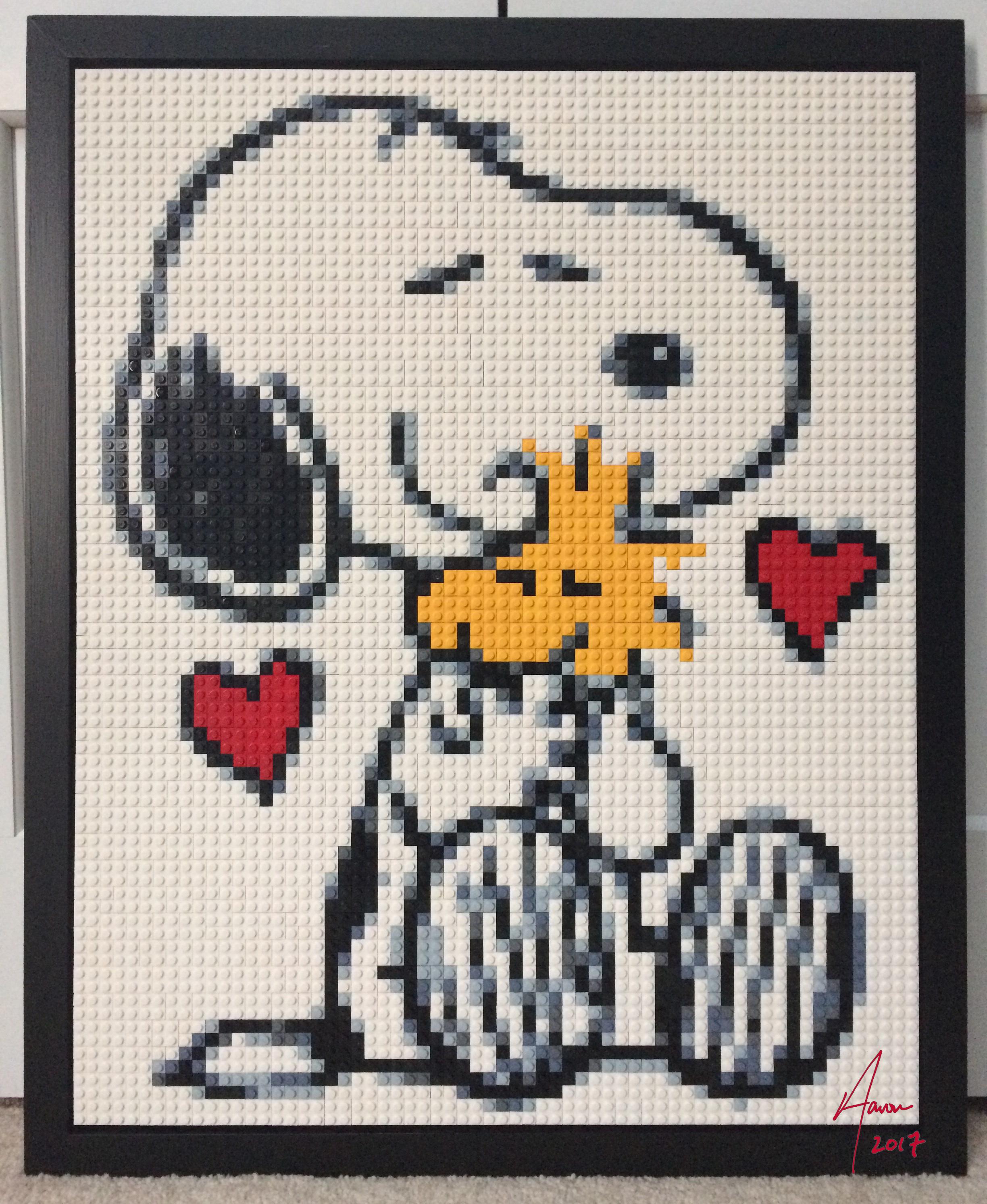 Snoopy & Woodstock LEGO mosaic